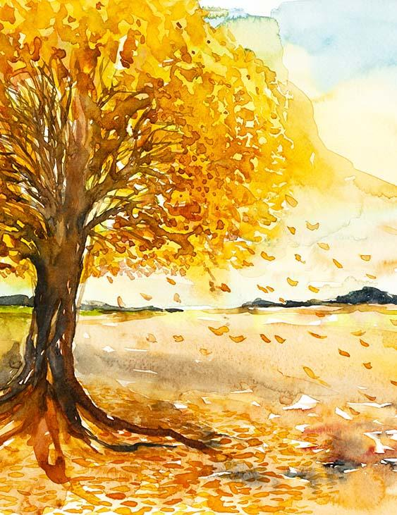 Watercolor Painted Autumn Tree For Children Photography Backdrop N-0139