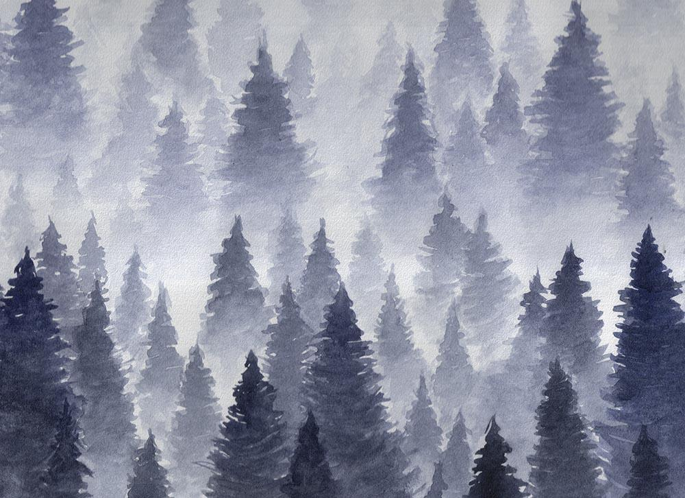 Watercolor Painted Black Fir Tree Backdrop For Winter Photography N-0021