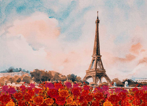 Watercolor Painted Effie Tower With Red Rose Photography Backdrop J-0813