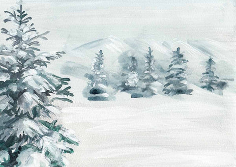 Watercolor Painted Firtree With Snow For Winter Holiday Photography Backdrop N-0120
