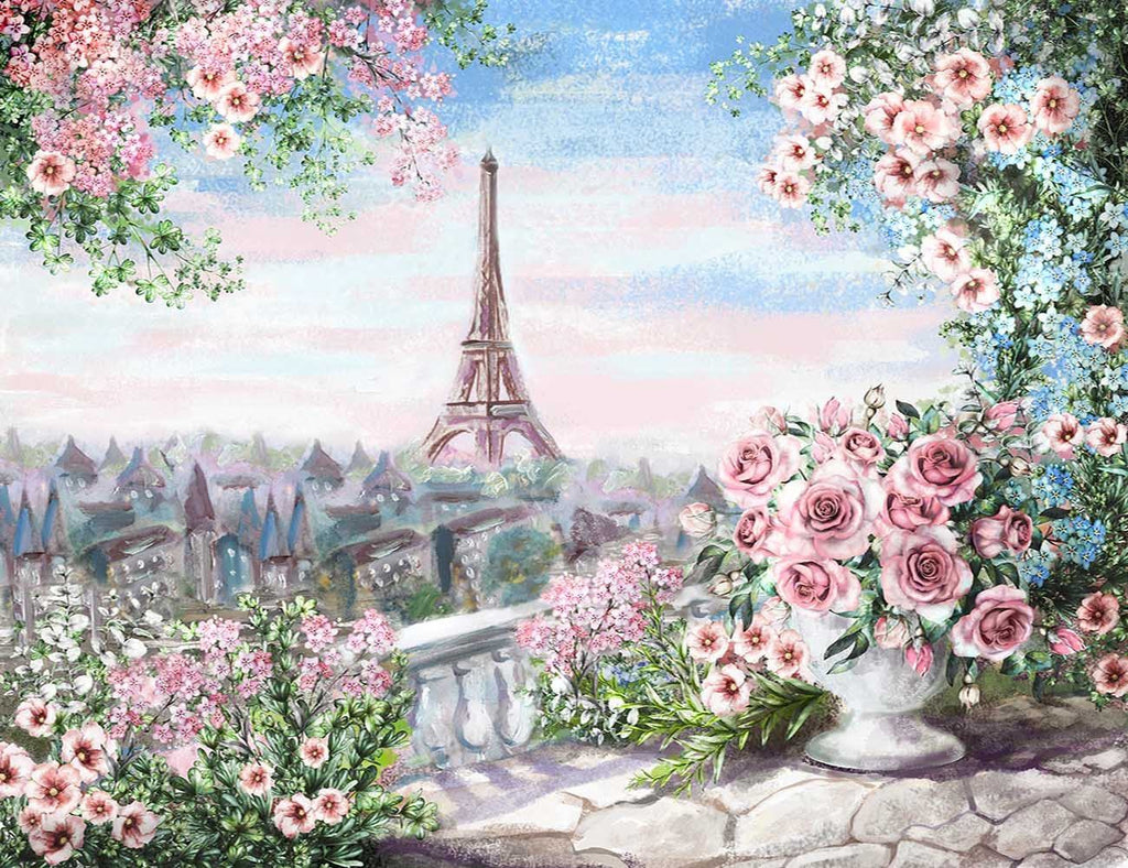 Watercolor Painted Pairs City Photography Backdrop J-0668
