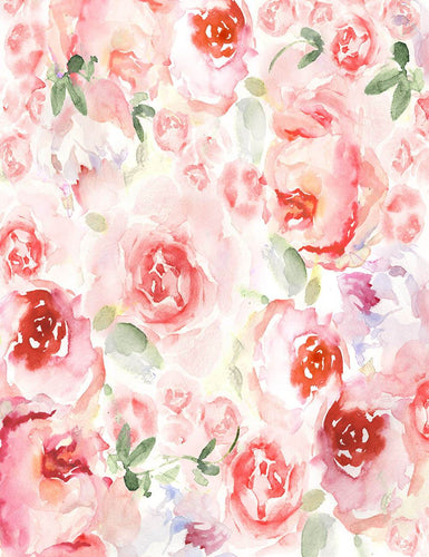 Watercolor Painted Pink Rose Flower Photography Backdrop J-0801
