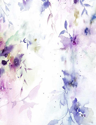 Watercolor Painted Purple Flower Life Photography Backdrop J-0344