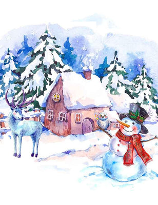 Watercolor Painted Snowmen Deer Room For Christmas Photography Backdrop J-0283
