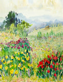 Watercolor Painted Spring Scenery Backdrop For Photography J-0805