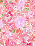 Watercolor Painter Pink Rose Flower Photography Backdrop J-0499-1