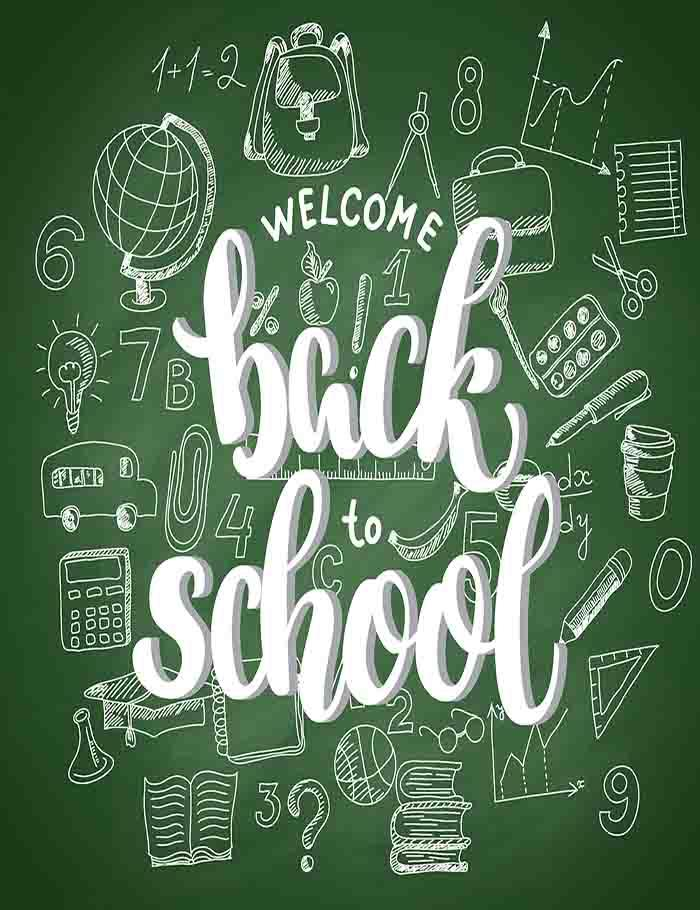 White 3d Letters On Green Chalkboard For Back To School Photography Backdrop J-0171