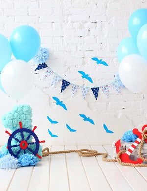 White And Blue Balloon White Brick Wall With Floor Backdrop For Birthday