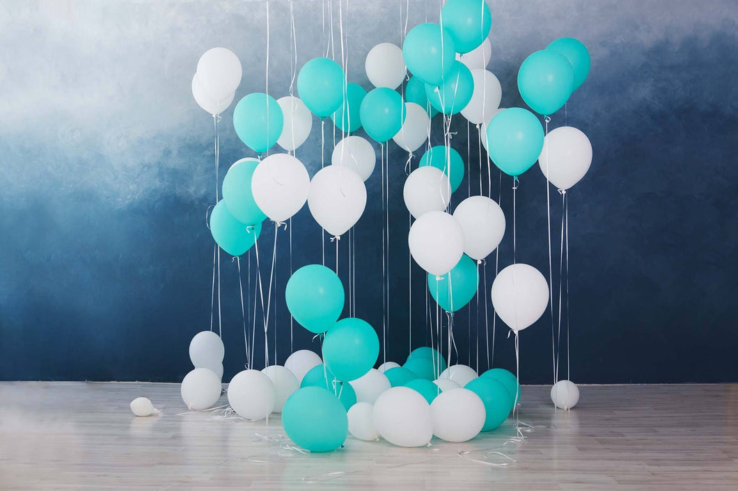 White Baby Blue Balloons Before Dark Blue Background Backdrop