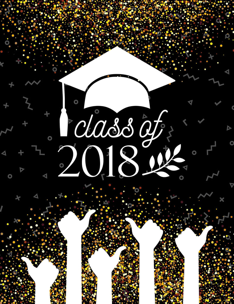 White Bachelor Cap And Thumb Up Printed On Black For Celebrate Graduation Backdrop