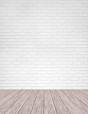 White Brick Texture Wall With Old Wood Floor Mat Photography Backdrop J-0300