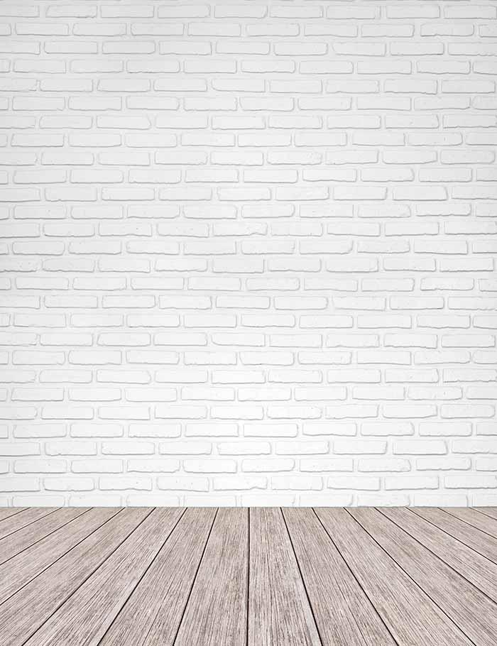 white brick texture wall with old wood floor mat photography backdrop shopbackdrop. Black Bedroom Furniture Sets. Home Design Ideas