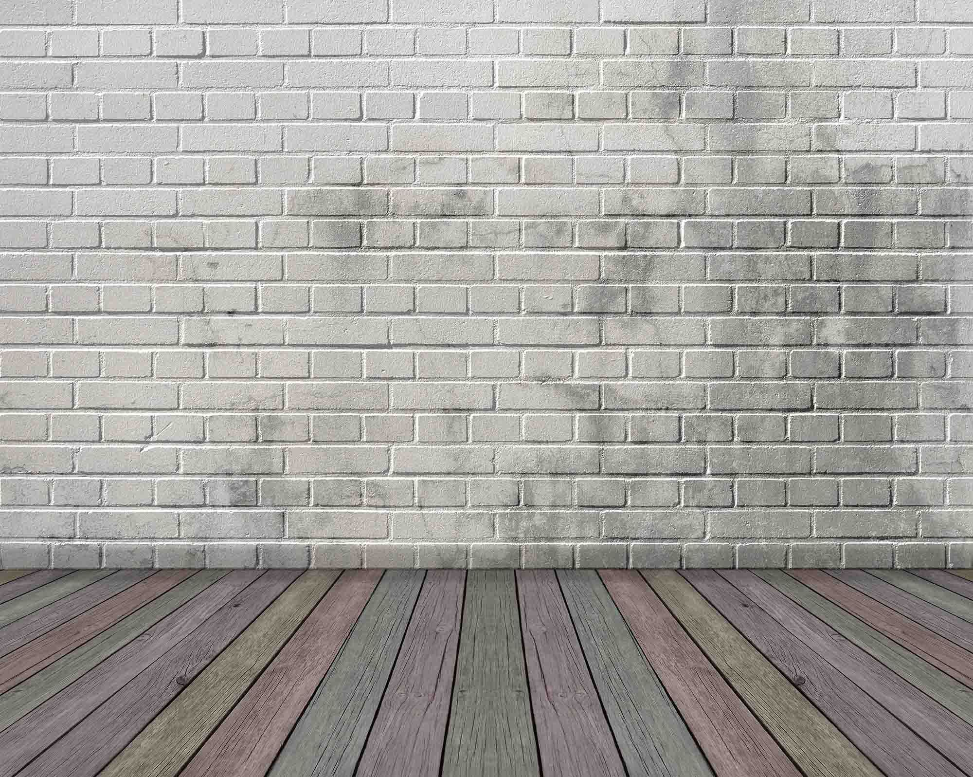 White Brick Wall Texture With Colorful Wood Floor Backdrop For Photo Shopbackdrop
