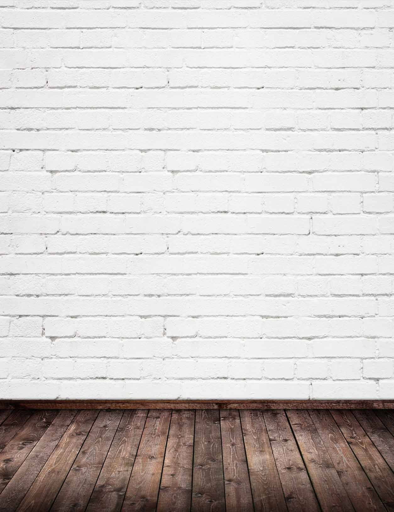 White Brick Wall Texture With Old Brown Wood Floor