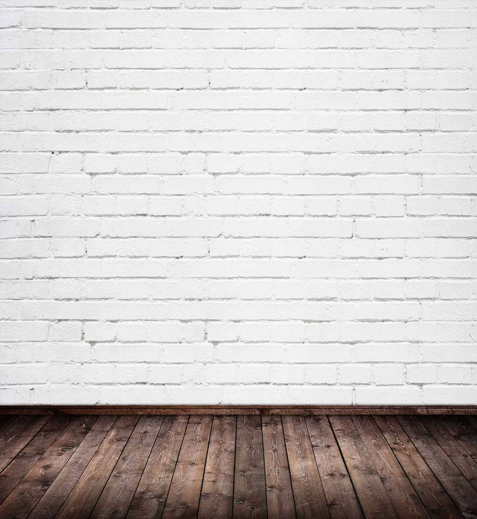 White Brick Wall Texture With Old Brown Wood Floor Backdrop For Photography - Shop Backdrop