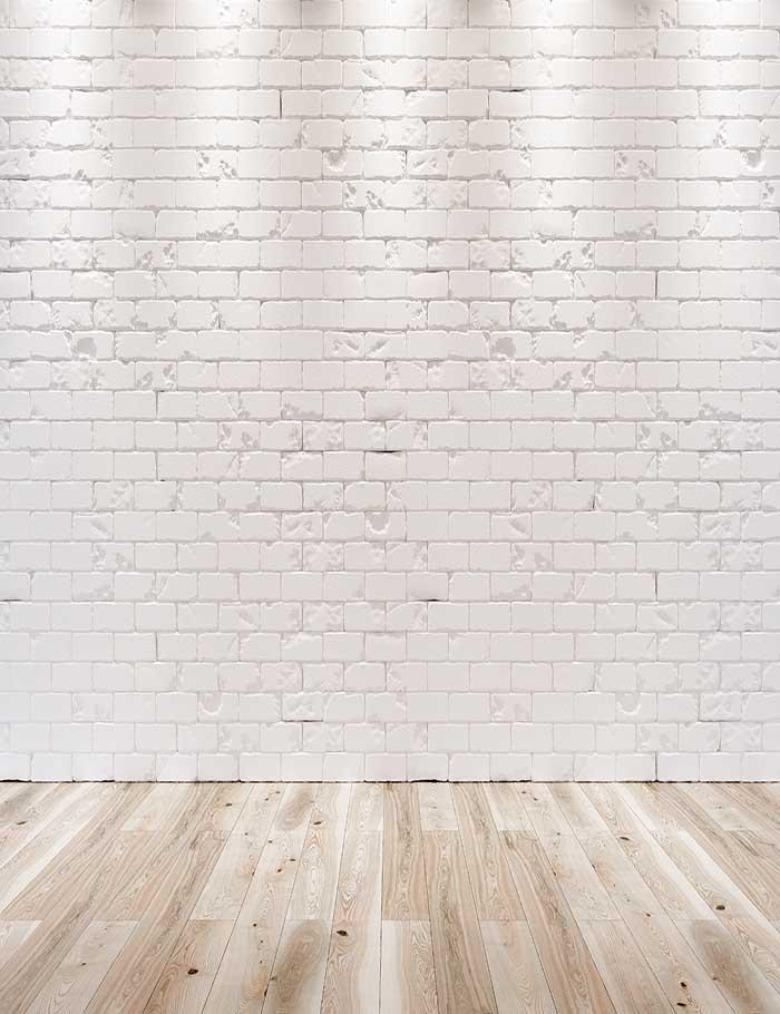 White Brick Wall Texture Wood Floor With Light Photography Backdrop
