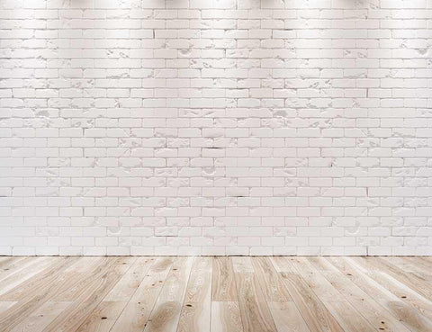White Brick Wall Texture Wood Floor With Light Photography Backdrop J-0345
