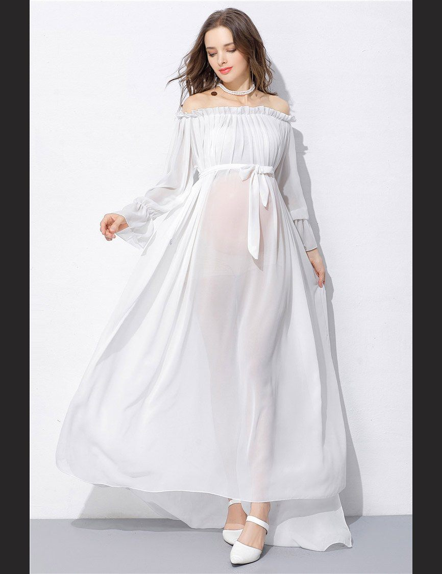 287e954c611a6 White Chiffon Long Sleeves Bare Shoulder Maternity Dress Photo Prop ...