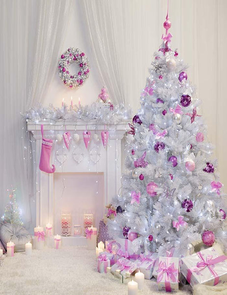 White Christmas Tree Pink Socks For Girls Holiday Photography Backdrop J 0014