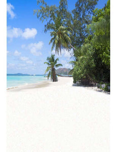 White Coral Sand Beach Blue Ocean Green Plant Photography Backdrop F-2625