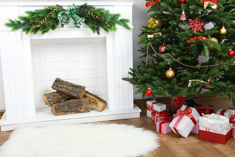 White Fireplace With Green Bell And White Wool Carpet For Christmas Holiday Backdrop
