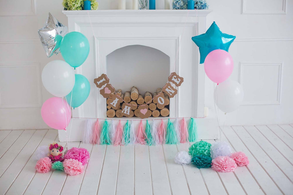 White Fireplace With Many Balloons On White Wood Floor For Birthday Photo Backdrop