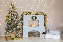White Fireplace With Sparkle Small Lights Photography Backdrop For Christmas