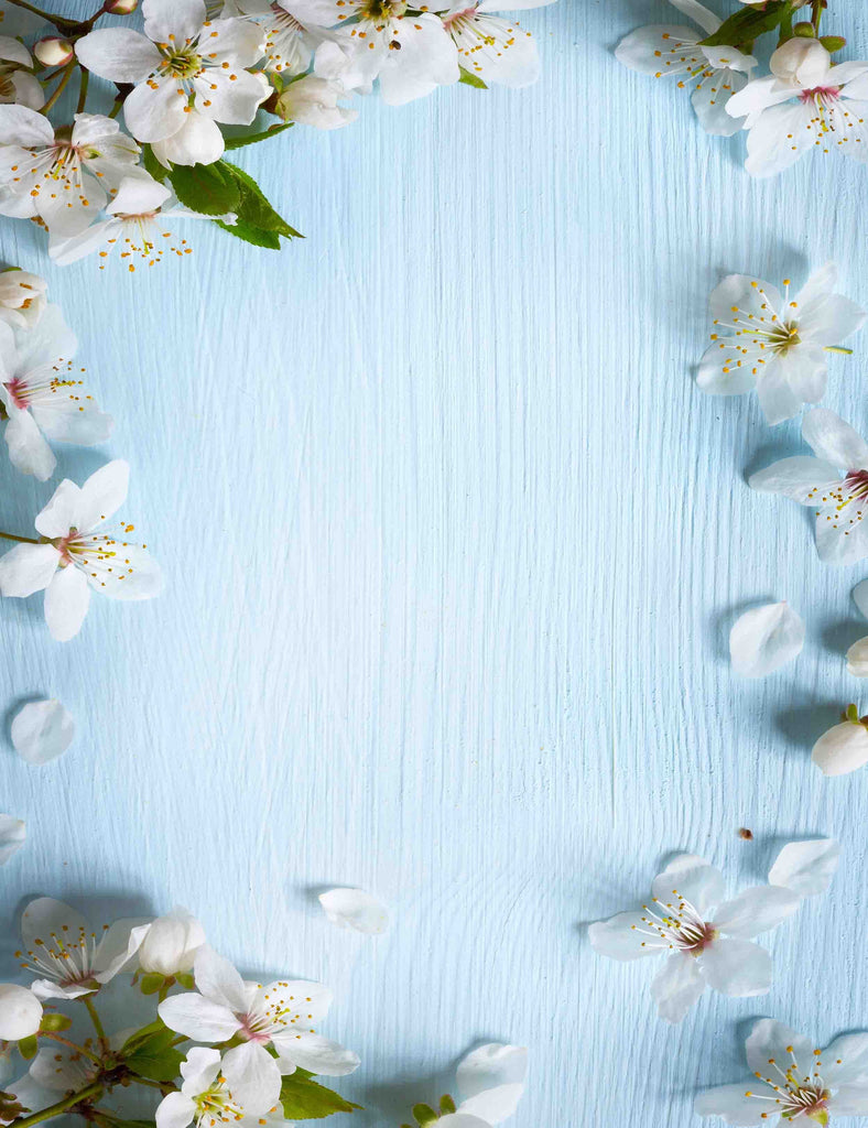 White Pear flower Sprinkle Around Sky Blue Wood Photography Backdrop
