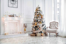 White Room With White Fireplace Christmas Tree For Holiday Photography Backdrop J-0091