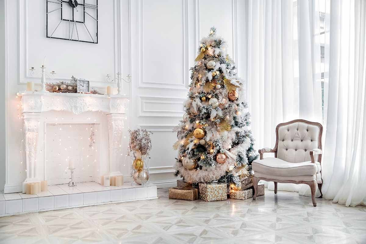 White Room With White Fireplace Christmas Tree For Holiday