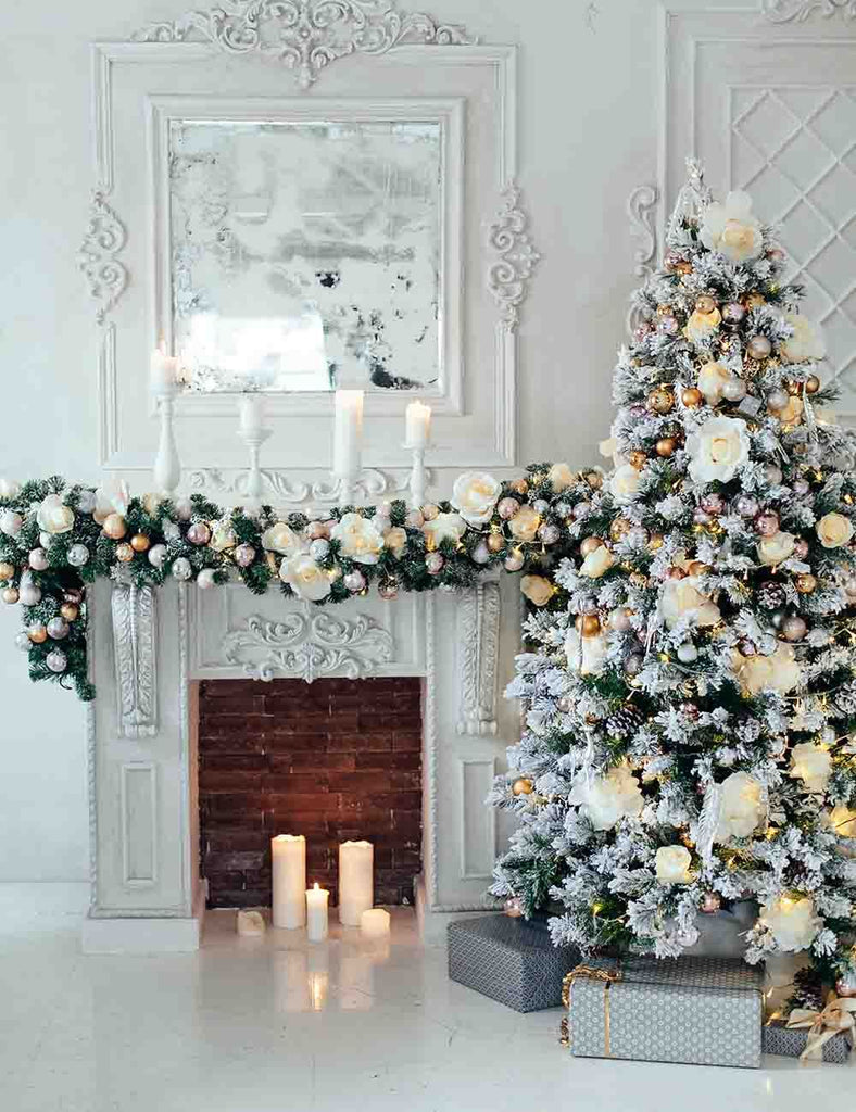 Snow On Christmas.White Snow Cover Christmas Tree Aside Fireplace Backdrop For Holiday Photo