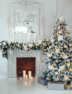 White Snow Cover Christmas Tree Aside Fireplace Backdrop For Holiday Photo
