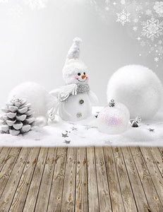 White Snow Men Snow Ball With Wood Floor Bakcdorp For Winter Photography lv-006