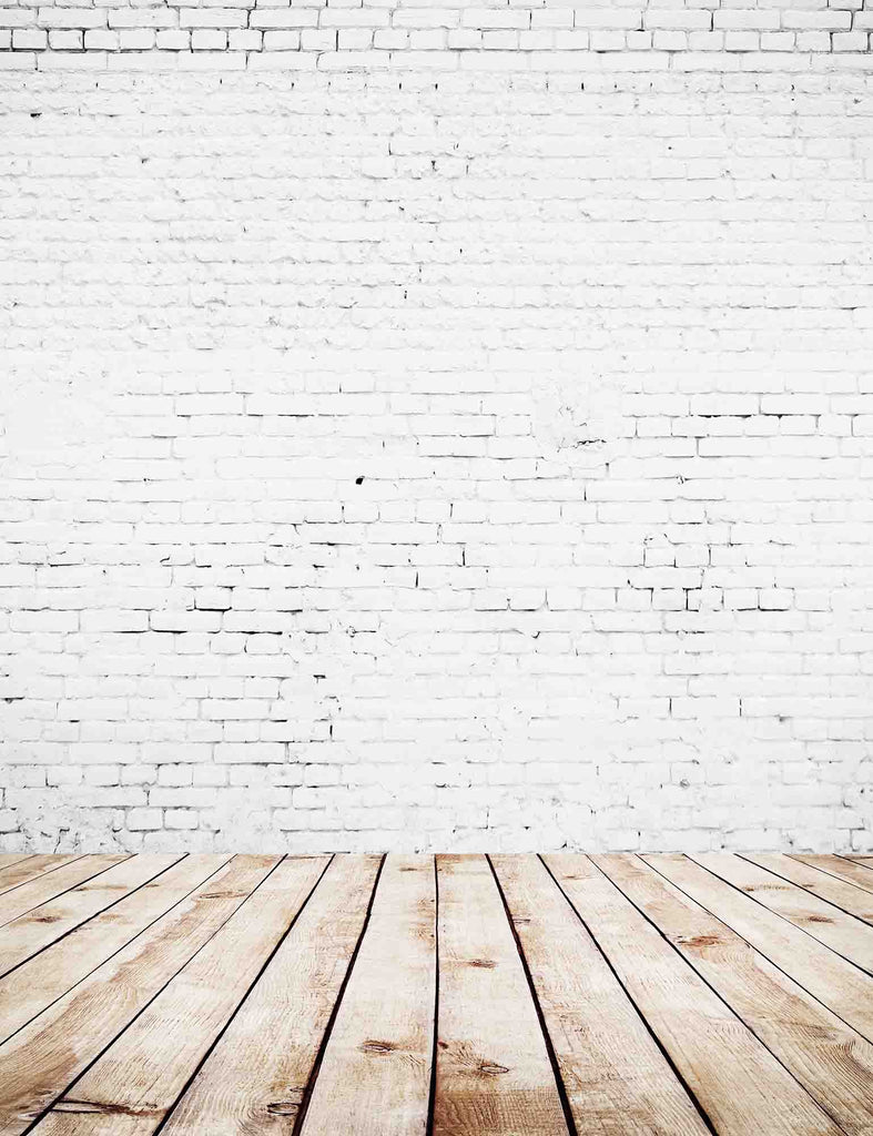White Stucco Brick Wall Texture With Nature Wood Floor Backdrop For Photo