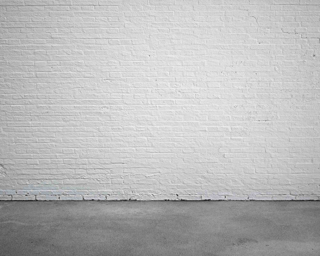 White Stucco Brick Wall With Cement Floor Backdrop For Photo Studio