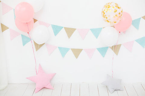 White Wall And Floor With Party Flag For Baby Birthday Photography Backdrop