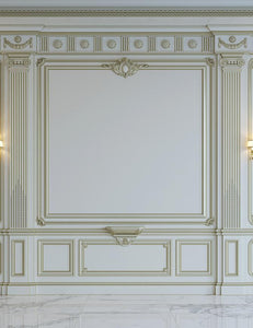 White Wall Panels In Classical Style With Gilding And Sconces Photography Backdrop J-0700