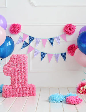 White Wall With White Wood Floor Colorful Balloons For One Birthday Photo Backdrop
