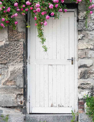 White Wood Door With Store Wall Pink Flower Photography Backdrop