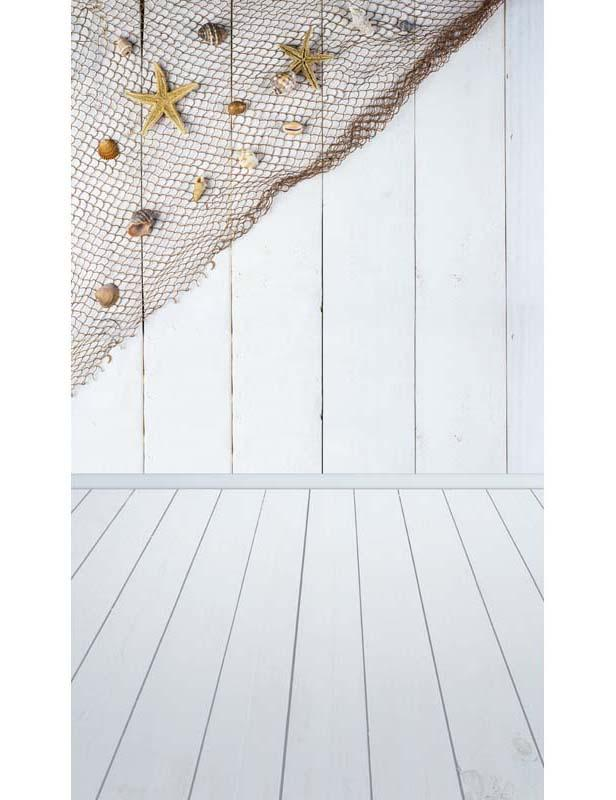 White Wood Floor And Wall With Covered Seashells Network Photography Backdrop F-2660