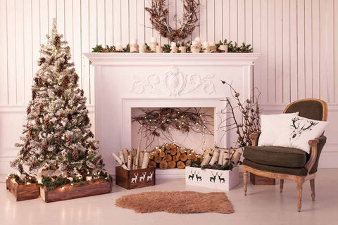 White Wood Wall With Christmas Tree And Chair Photography Bakcdrop J-0093