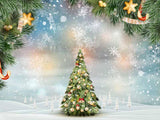 Winter Christmas Tree On With Snow Photography Backdrop J-0228