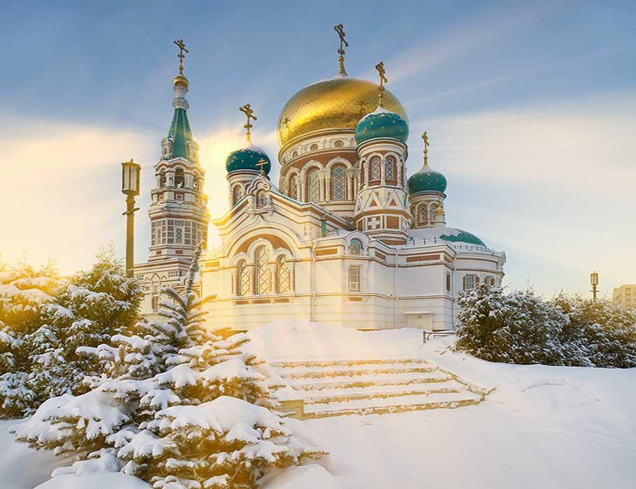 Winter Dormition Cathedral In Sunshine Photography Backdrop J-0217