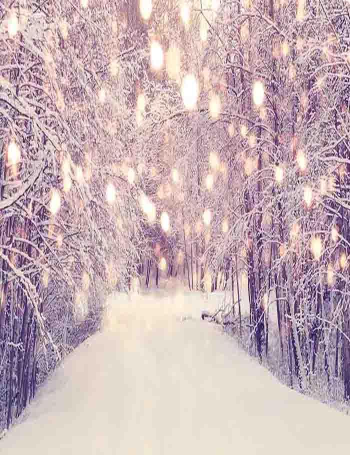 Winter Forest Covered With Snow And Gold Sparkle For Christmas Holiday Backdrop