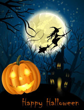 Witch And  Pumpkin In Dark Forest For Halloween Photo Backdrop