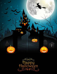 Witch Bats And Dark Castle For Halloween Photo Backdrop