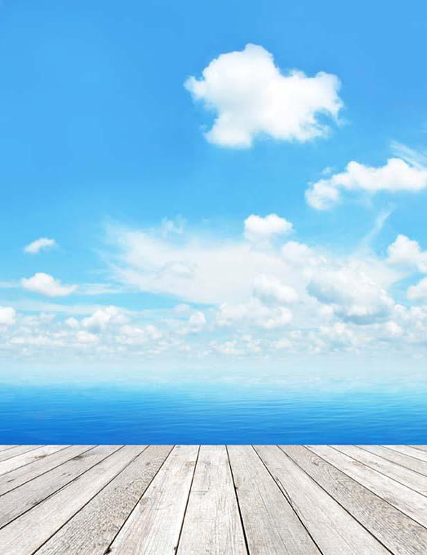 Wood Floor Mat With Sea Sky Photography Backdrop  F-2639