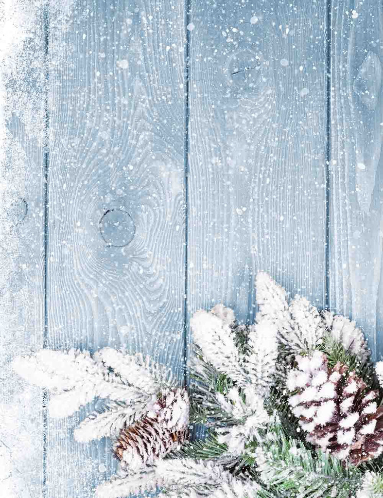 Wood Floor Mat With Snow And Firtree Photography Backdrop Q-0608