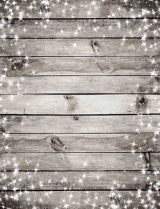 Wood Floor With Sparkles Stars Around Edges For Christmas Backdrop