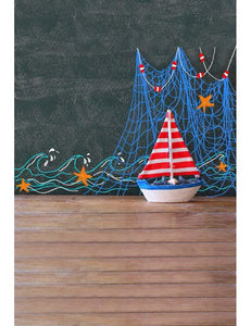 Wood Sailing Boat Front Chalkboard Baby Show Photography Backdrop F-2663